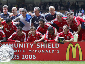 Bellamy and team-mates after winning the McDonald's sponsored Community Shield in 2006