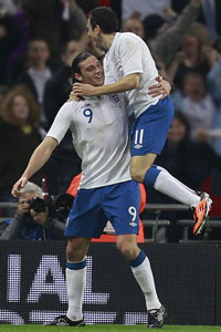 Carroll and Downing celebrating