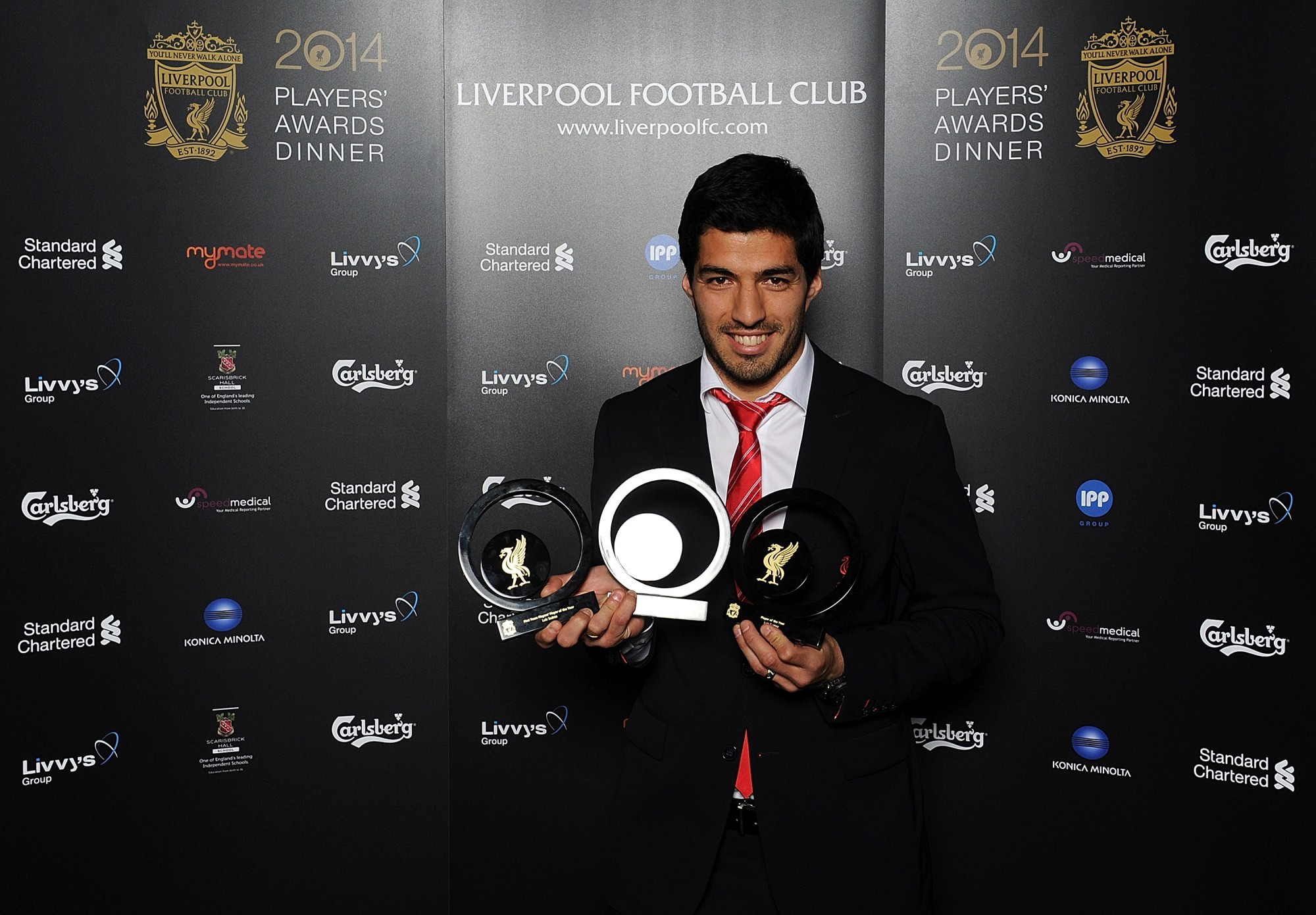 Luis Suarez swept up at the 2014  Liverpool FC Players' Awards