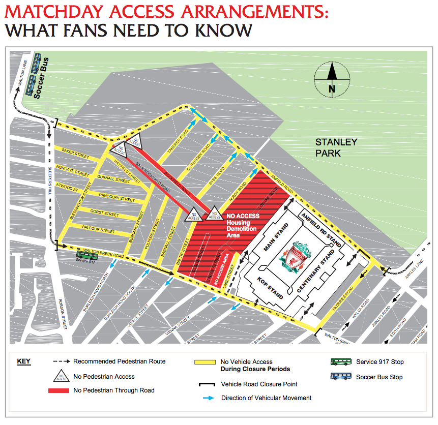 Anfield Access map (see PDF for full details)