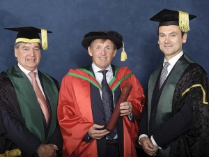 Kenny Dalglish, recipient of the degree of Doctor of Science (DSc) for services to charitable activity, pictured with University Chancellor Professor Richard Barnett and Mr Gerry Mallon, Chair of Council.
