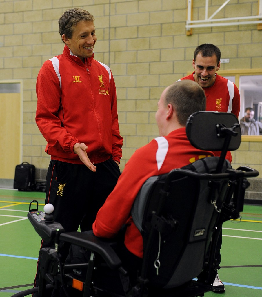 Liverpool's Lucas Leiva at the launch of LFC's 2nd 'Football 4 All' programme