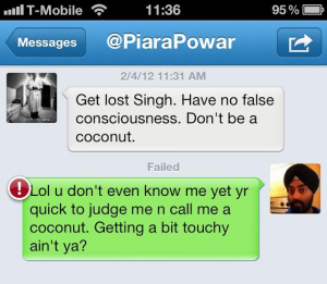 @PiaraPowar 'coconut' jibe