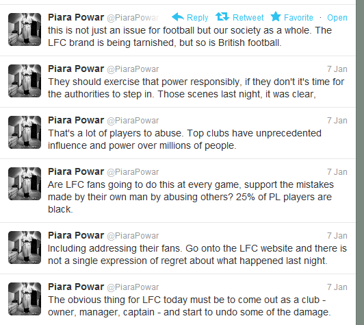 @PiaraPowar was very outspoken after incident at Anfield in January, yet remained silent on Old Trafford incident