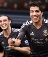 Luis Suarez and Andy Carroll will be wearing the new away shirts next season