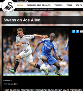 Joe Allen statement on Swansea website